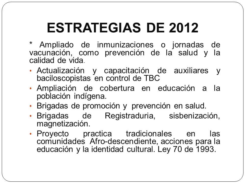 ESTRATEGIAS DE 2012* Ampliado de inmunizaciones o jornadas de vacunación, como prevención de la salud y la calidad de vida.