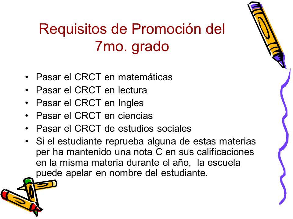 Requisitos de Promoción del 7mo. grado