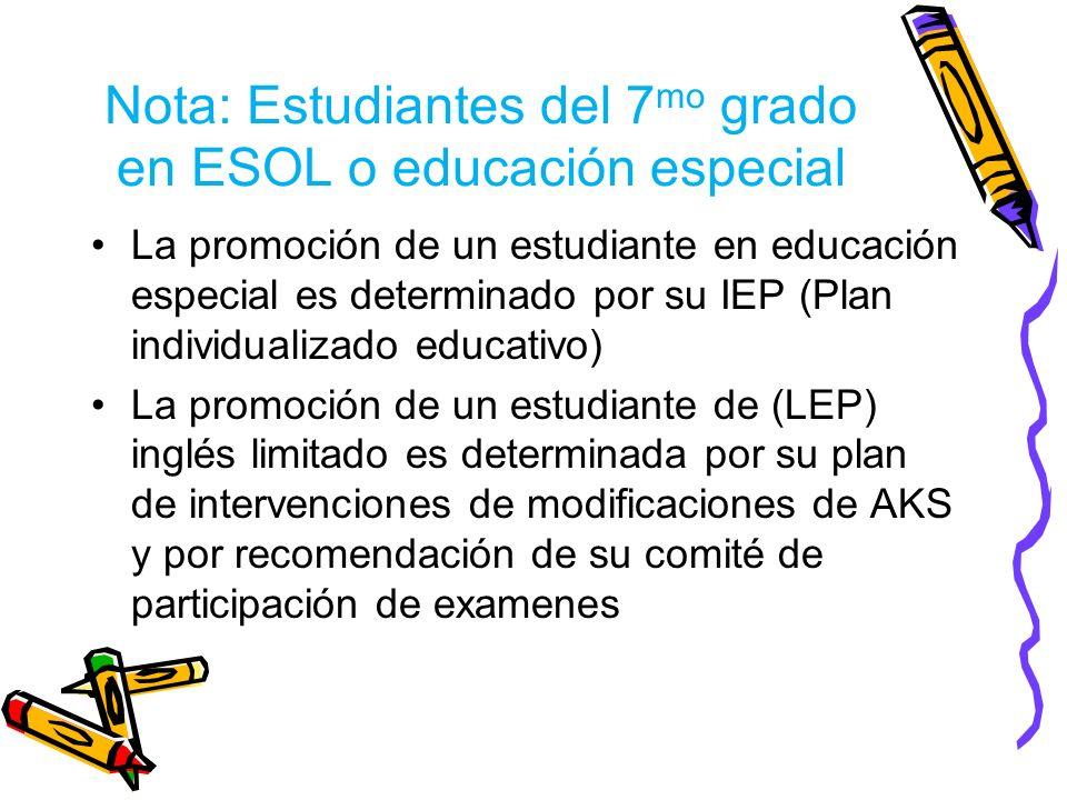 Nota: Estudiantes del 7mo grado en ESOL o educación especial