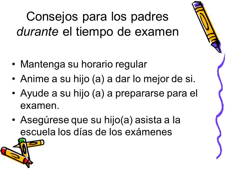 Consejos para los padres durante el tiempo de examen