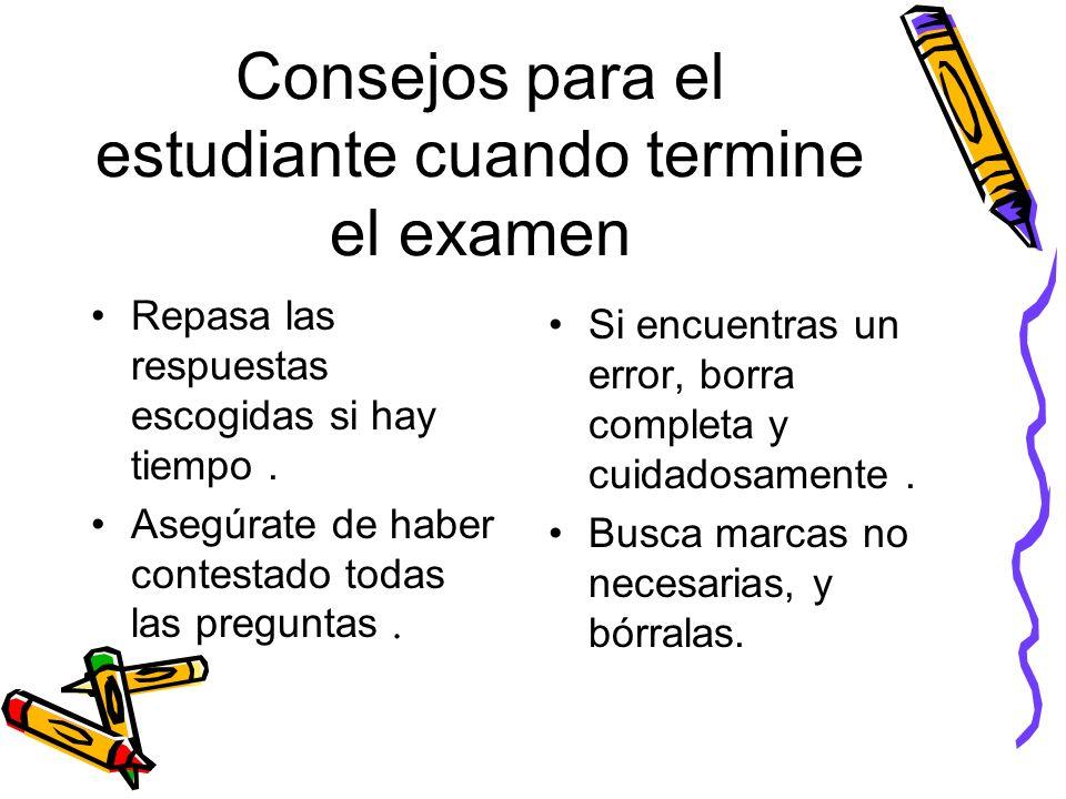 Consejos para el estudiante cuando termine el examen