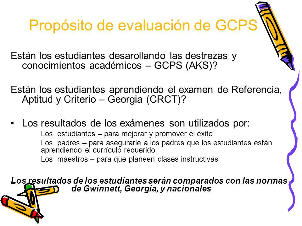 Propósito de evaluación de GCPS