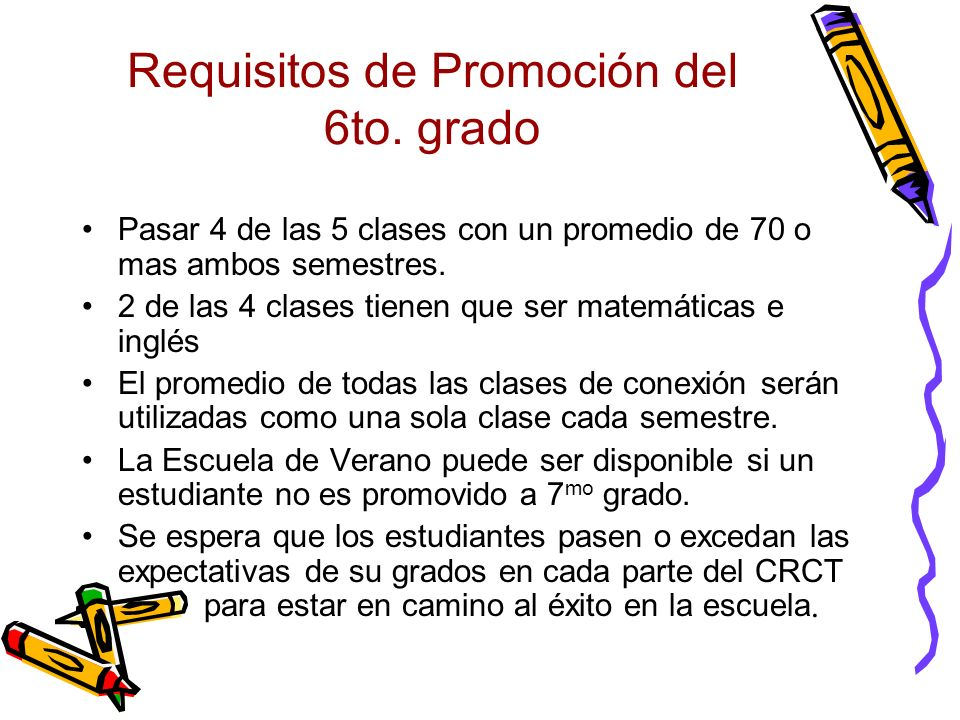 Requisitos de Promoción del 6to. grado