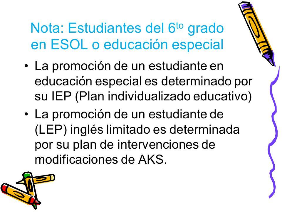 Nota: Estudiantes del 6to grado en ESOL o educación especial