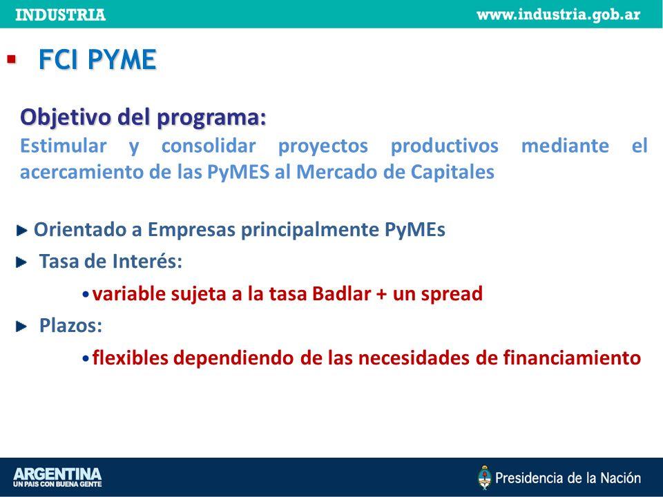 FCI PYME Objetivo del programa: