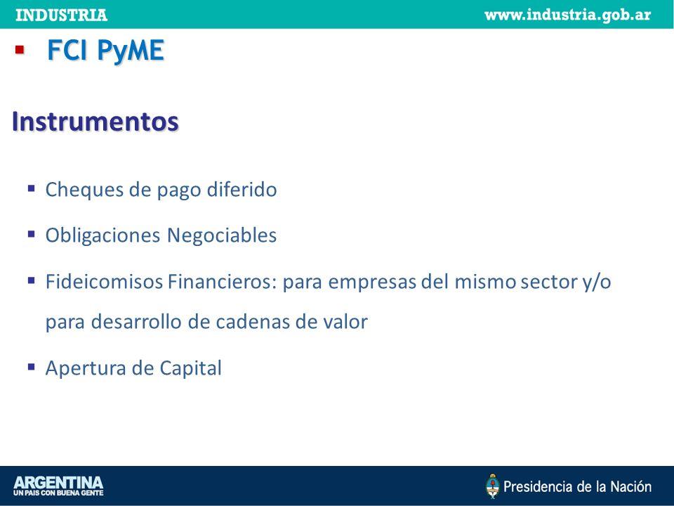 Instrumentos FCI PyME Cheques de pago diferido
