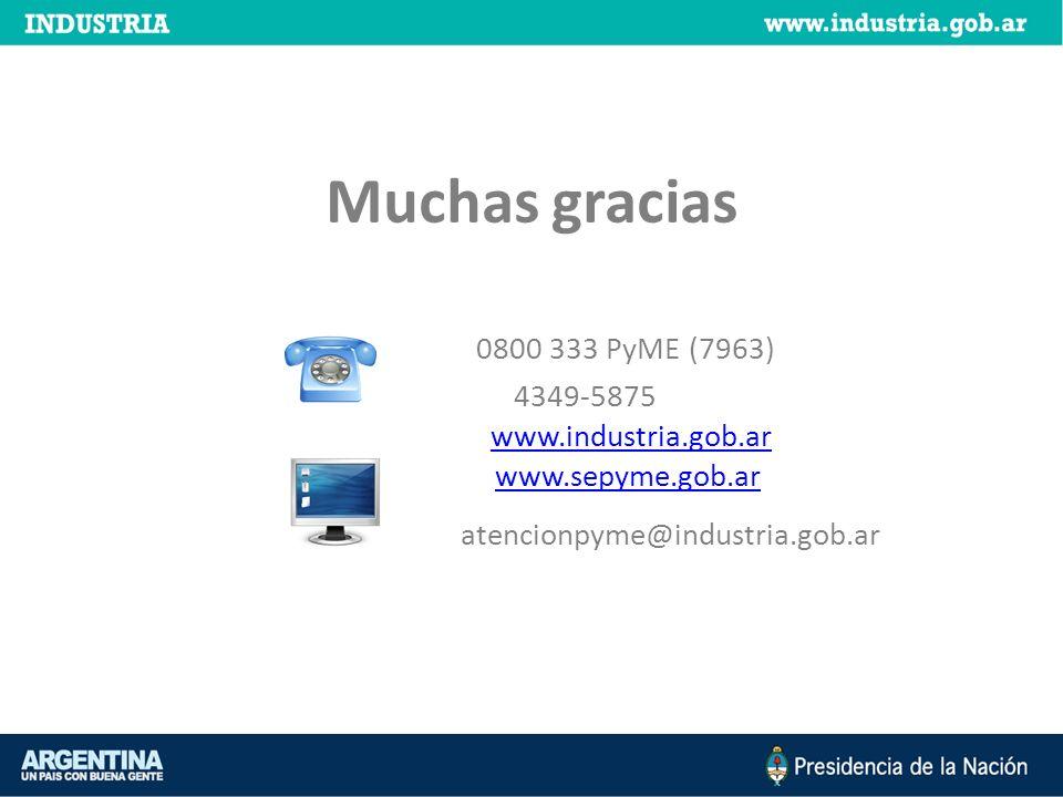Muchas gracias 0800 333 PyME (7963) 4349-5875 www.industria.gob.ar