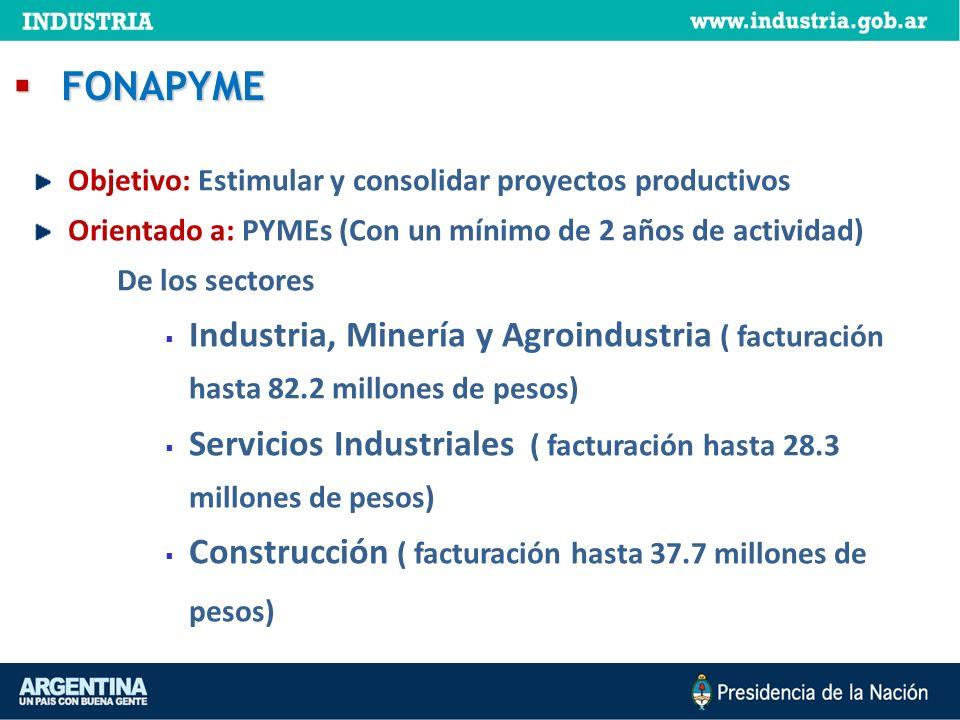 FONAPYME Objetivo: Estimular y consolidar proyectos productivos. Orientado a: PYMEs (Con un mínimo de 2 años de actividad)