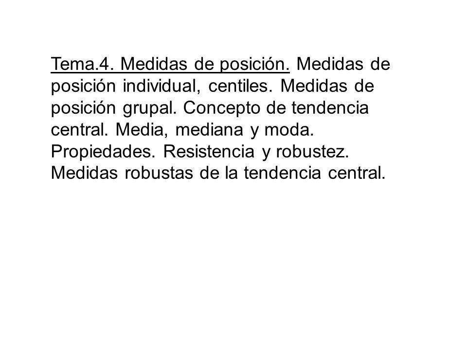 Tema. 4. Medidas de posición. Medidas de posición individual, centiles