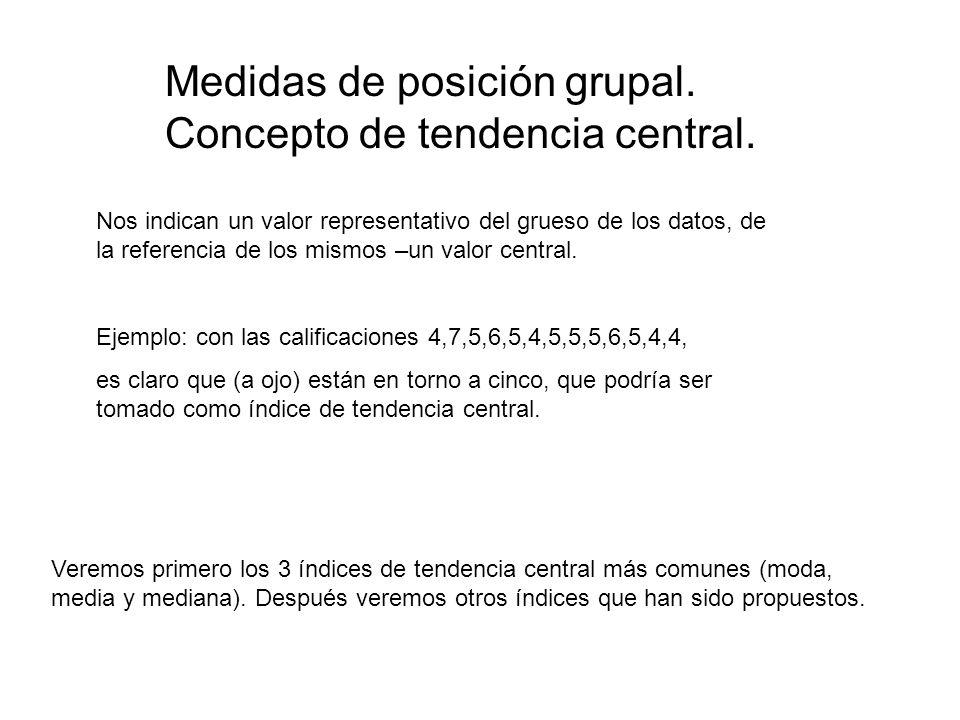 Medidas de posición grupal. Concepto de tendencia central.