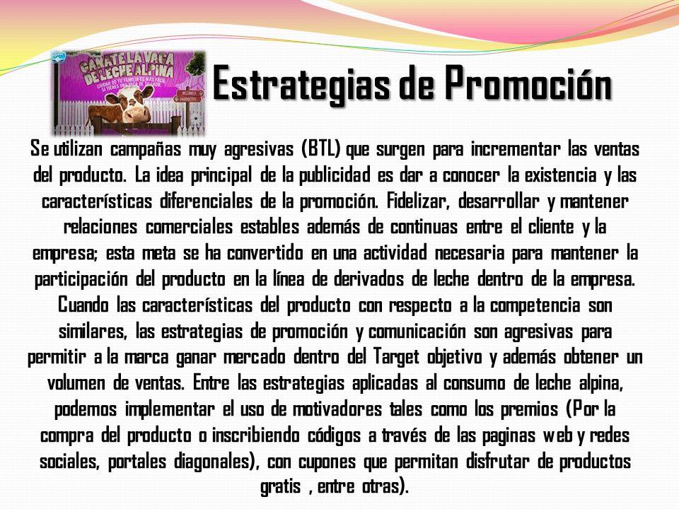 Estrategias de Promoción Se utilizan campañas muy agresivas (BTL) que surgen para incrementar las ventas del producto.