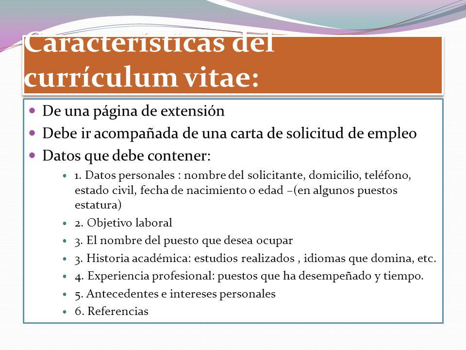 Características del currículum vitae: