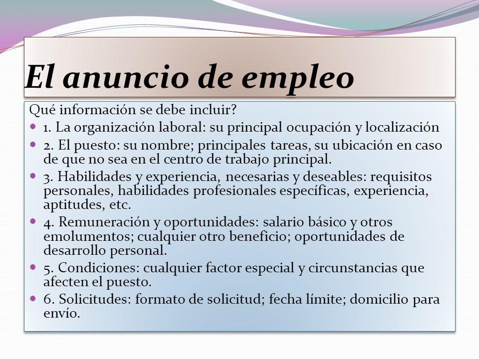 El anuncio de empleo Qué información se debe incluir