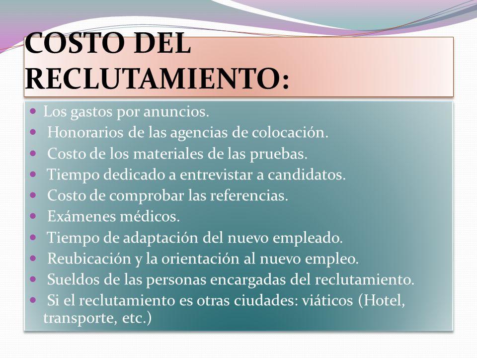 COSTO DEL RECLUTAMIENTO: