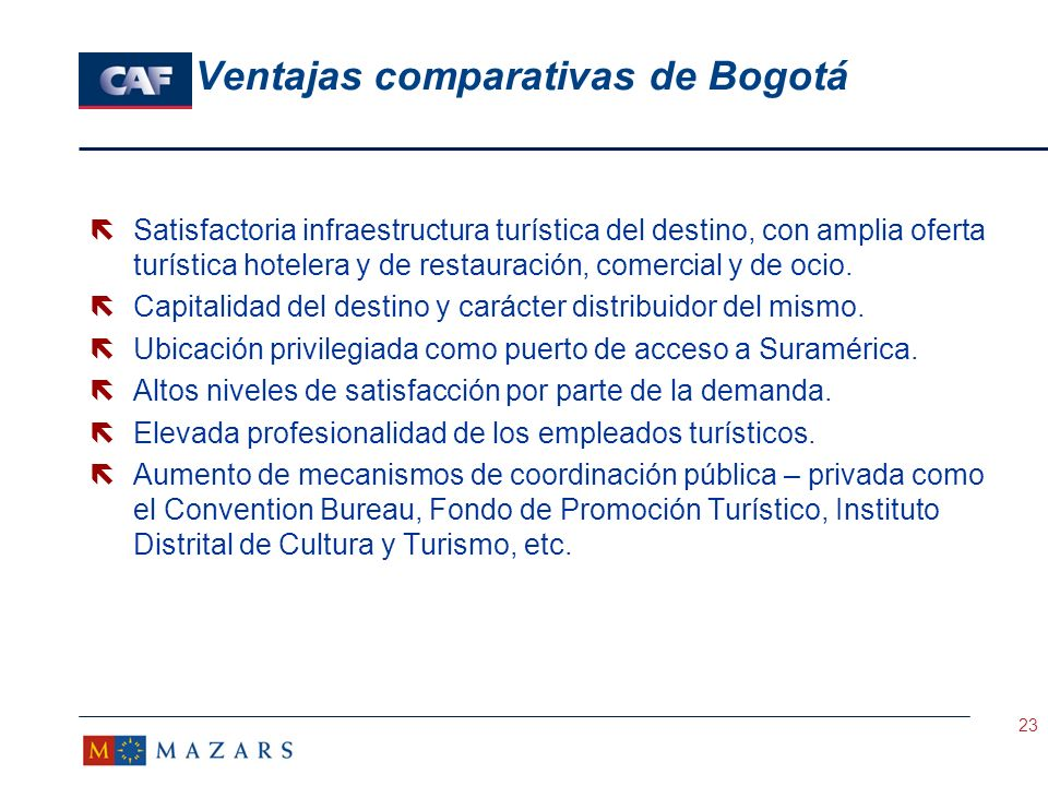Ventajas comparativas de Bogotá