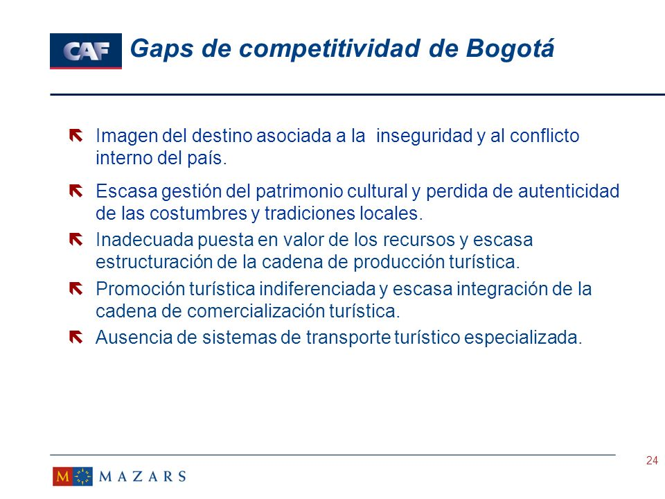 Gaps de competitividad de Bogotá