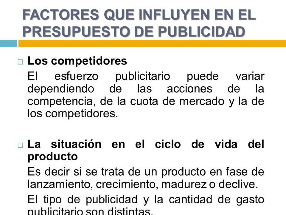 FACTORES QUE INFLUYEN EN EL PRESUPUESTO DE PUBLICIDAD