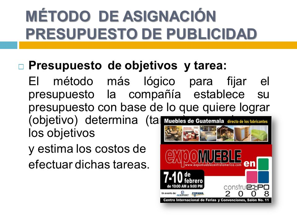 MÉTODO DE ASIGNACIÓN PRESUPUESTO DE PUBLICIDAD