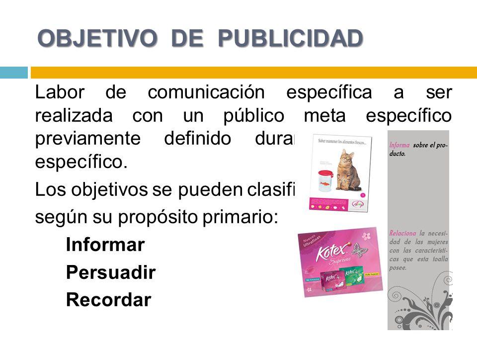 OBJETIVO DE PUBLICIDAD