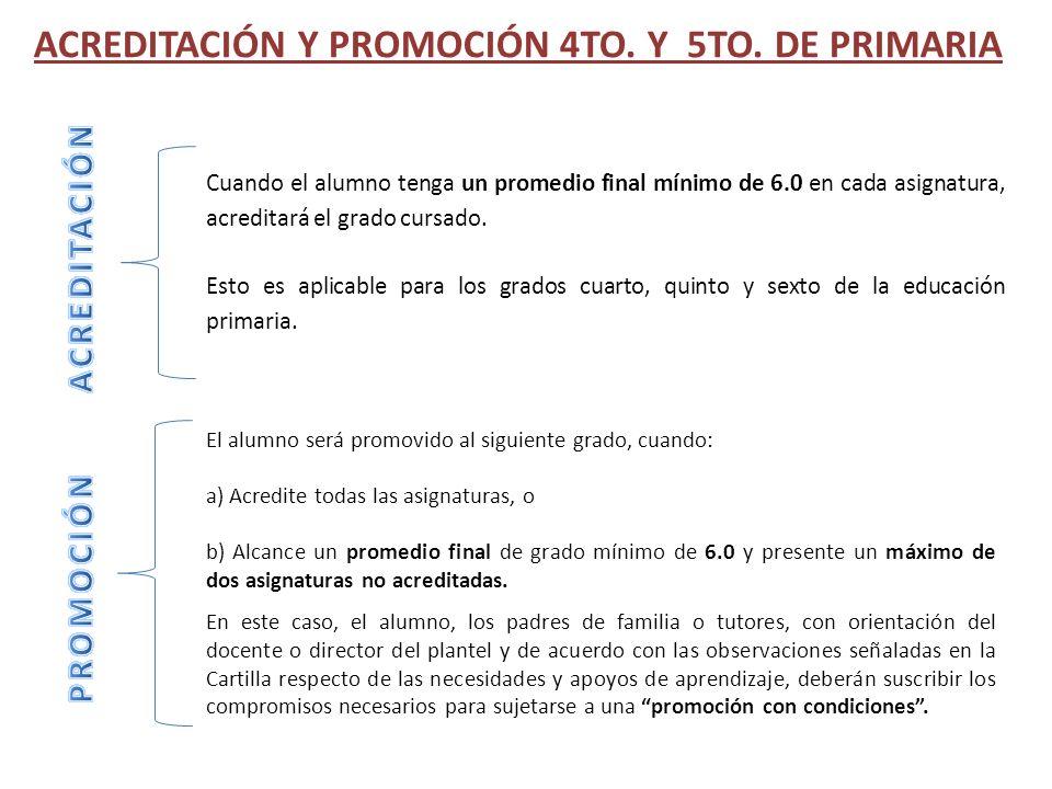 ACREDITACIÓN Y PROMOCIÓN 4TO. Y 5TO. DE PRIMARIA