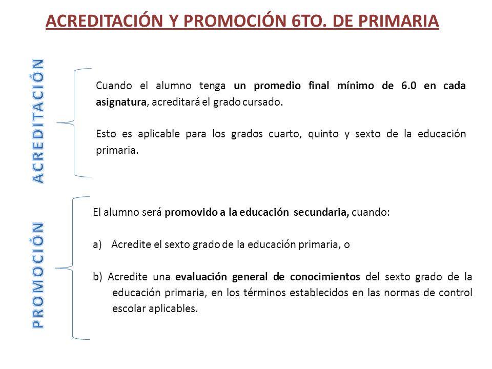 ACREDITACIÓN Y PROMOCIÓN 6TO. DE PRIMARIA