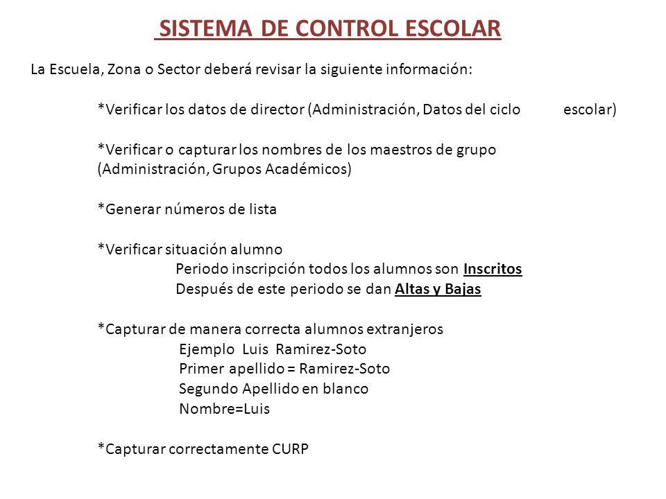 SISTEMA DE CONTROL ESCOLAR