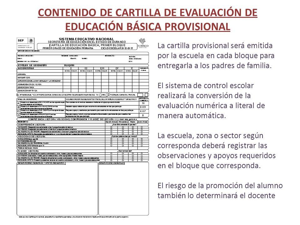 CONTENIDO DE CARTILLA DE EVALUACIÓN DE EDUCACIÓN BÁSICA PROVISIONAL