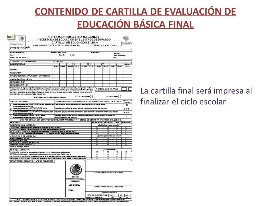 CONTENIDO DE CARTILLA DE EVALUACIÓN DE EDUCACIÓN BÁSICA FINAL