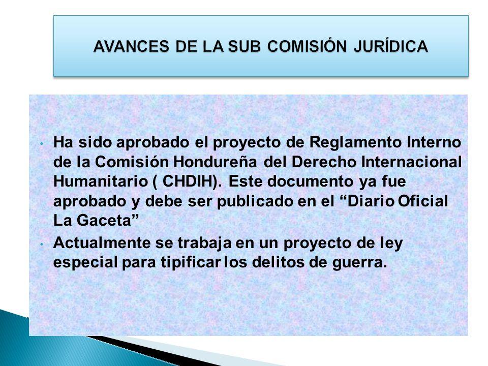 AVANCES DE LA SUB COMISIÓN JURÍDICA