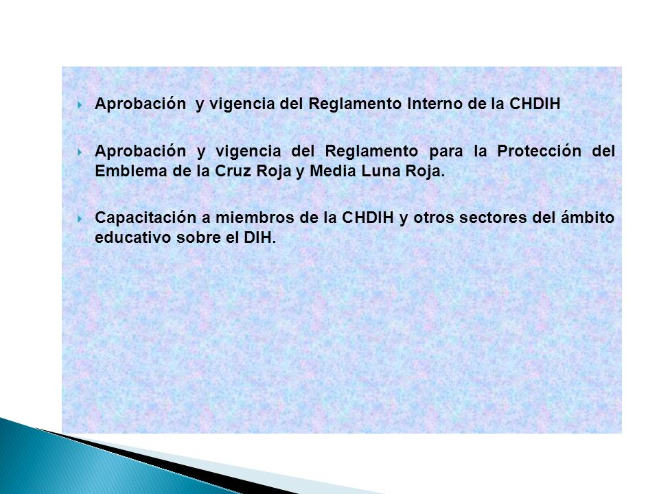 Aprobación y vigencia del Reglamento Interno de la CHDIH