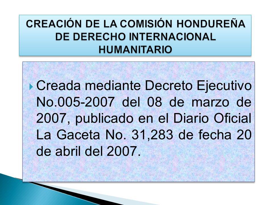 CREACIÓN DE LA COMISIÓN HONDUREÑA DE DERECHO INTERNACIONAL HUMANITARIO