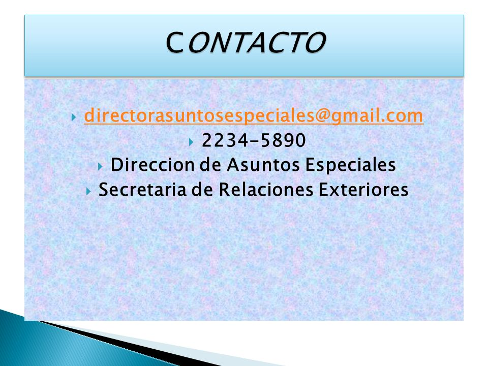 Direccion de Asuntos Especiales Secretaria de Relaciones Exteriores