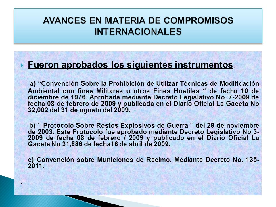 AVANCES EN MATERIA DE COMPROMISOS INTERNACIONALES