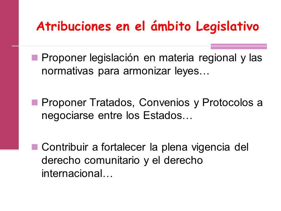 Atribuciones en el ámbito Legislativo