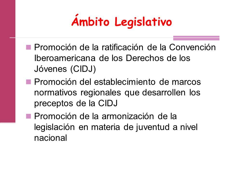 Ámbito Legislativo Promoción de la ratificación de la Convención Iberoamericana de los Derechos de los Jóvenes (CIDJ)