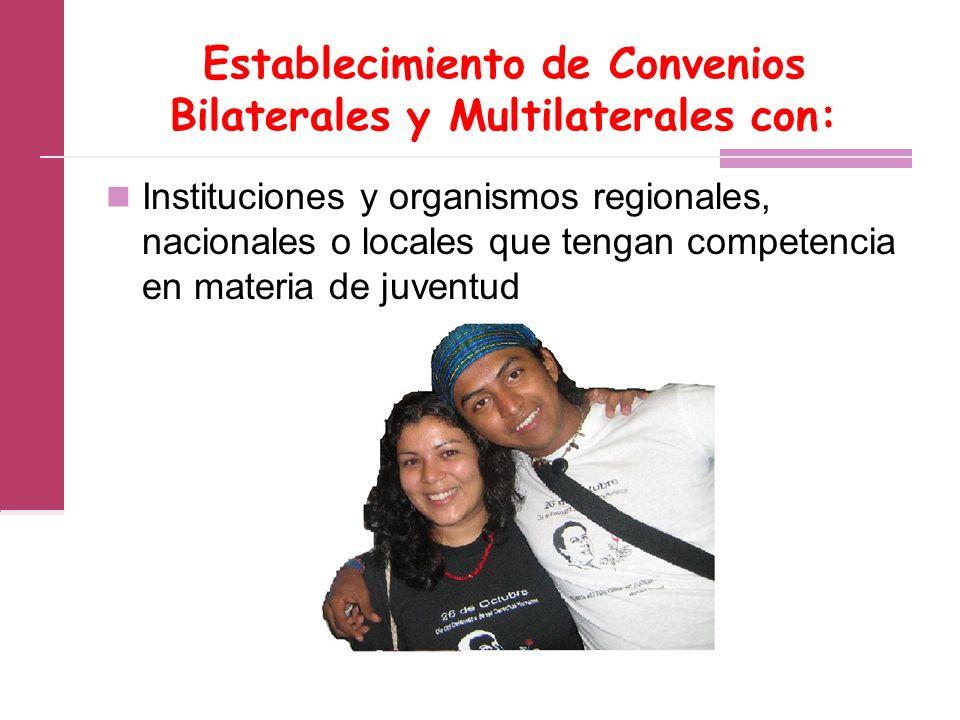 Establecimiento de Convenios Bilaterales y Multilaterales con: