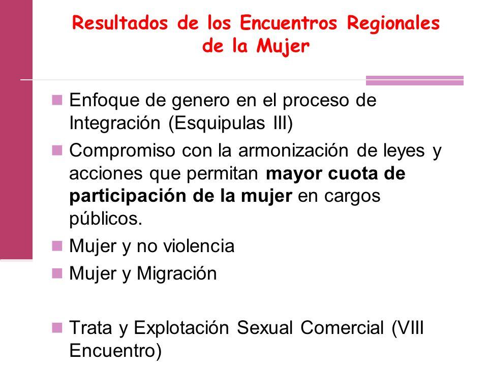 Resultados de los Encuentros Regionales de la Mujer