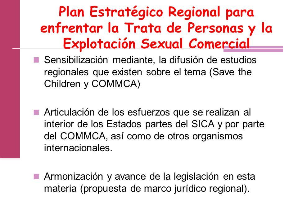 Plan Estratégico Regional para enfrentar la Trata de Personas y la Explotación Sexual Comercial