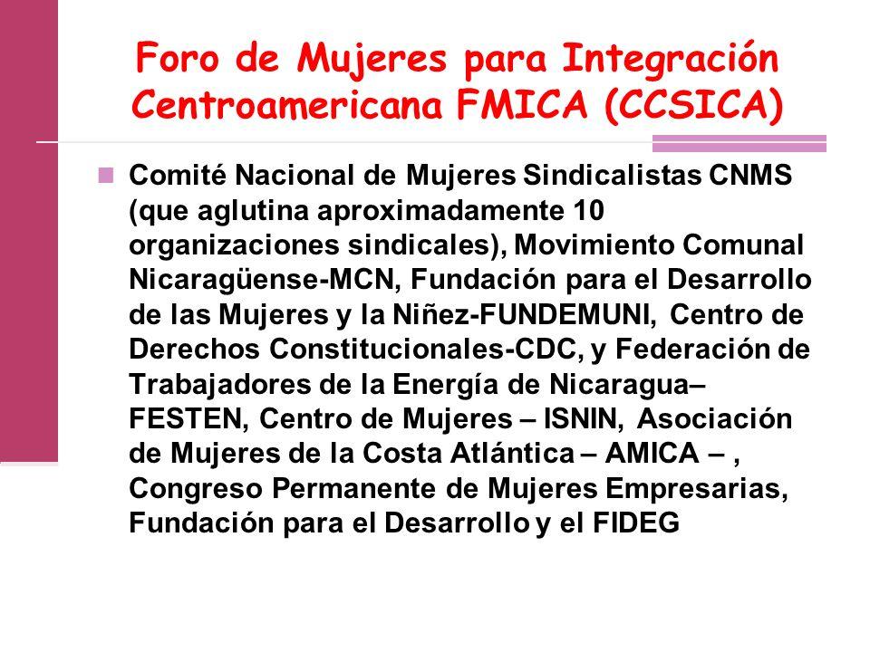 Foro de Mujeres para Integración Centroamericana FMICA (CCSICA)