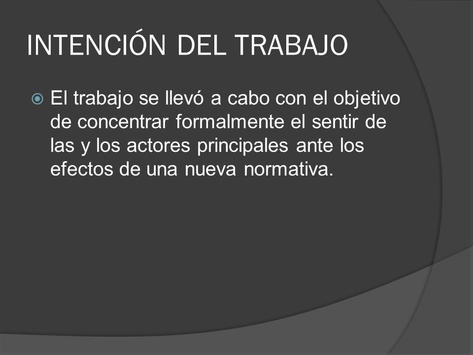 INTENCIÓN DEL TRABAJO