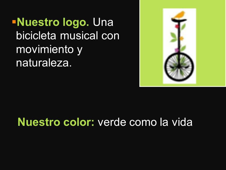Nuestro logo. Una bicicleta musical con movimiento y naturaleza.