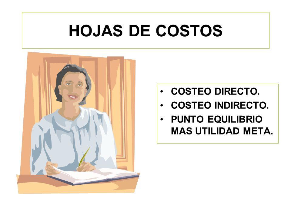 HOJAS DE COSTOS COSTEO DIRECTO. COSTEO INDIRECTO.