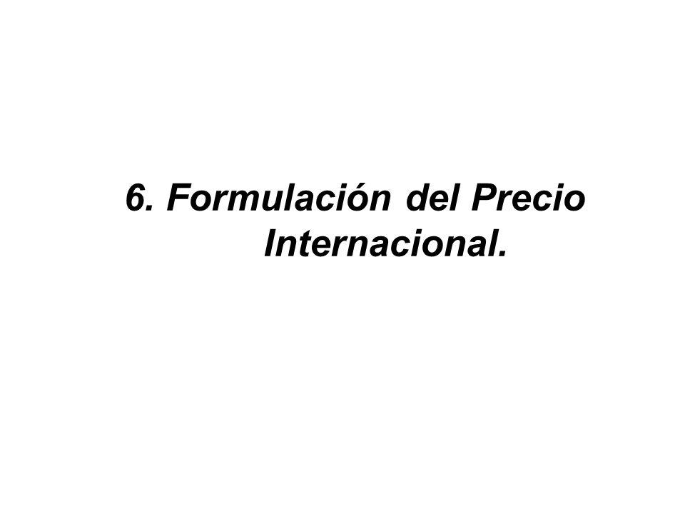6. Formulación del Precio Internacional.