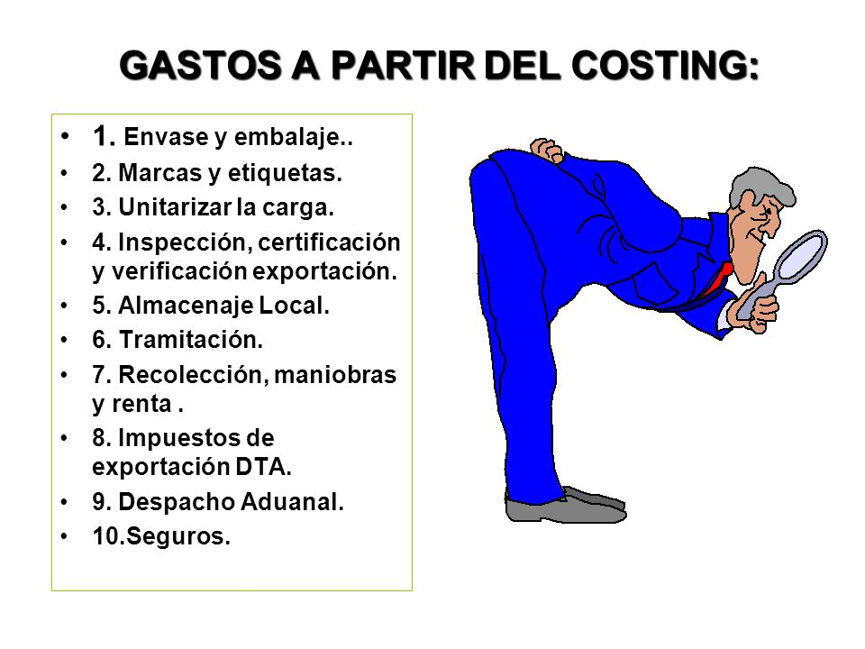 GASTOS A PARTIR DEL COSTING:
