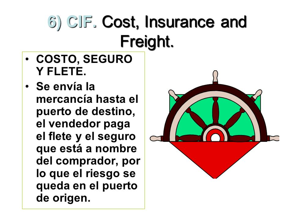 6) CIF. Cost, Insurance and Freight.