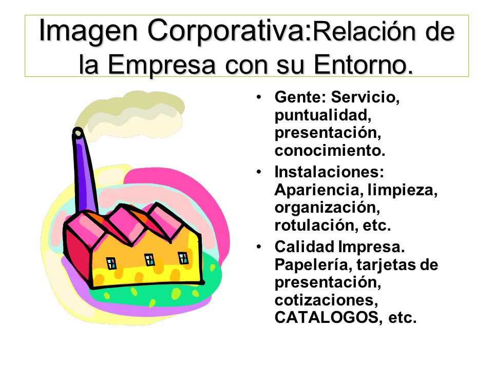Imagen Corporativa:Relación de la Empresa con su Entorno.