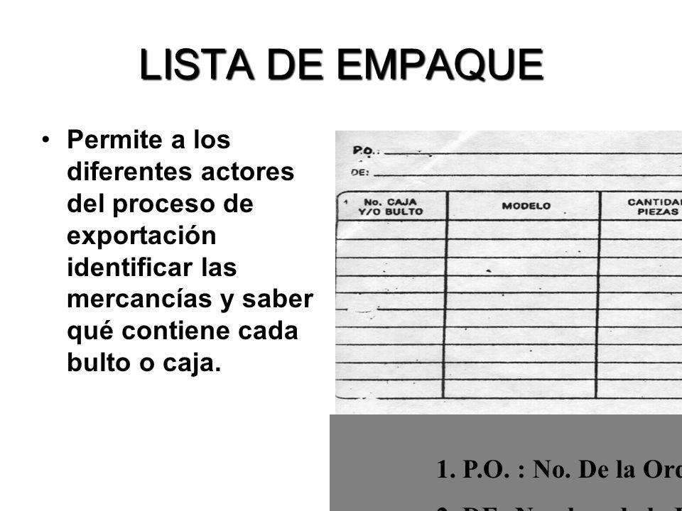 LISTA DE EMPAQUE Permite a los diferentes actores del proceso de exportación identificar las mercancías y saber qué contiene cada bulto o caja.