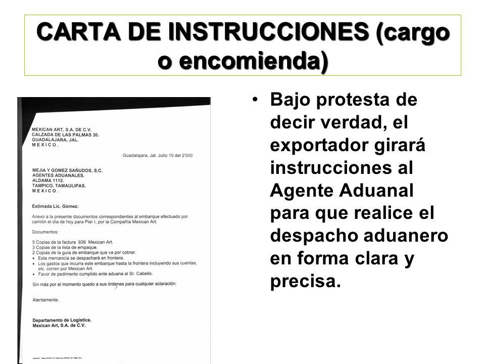 CARTA DE INSTRUCCIONES (cargo o encomienda)
