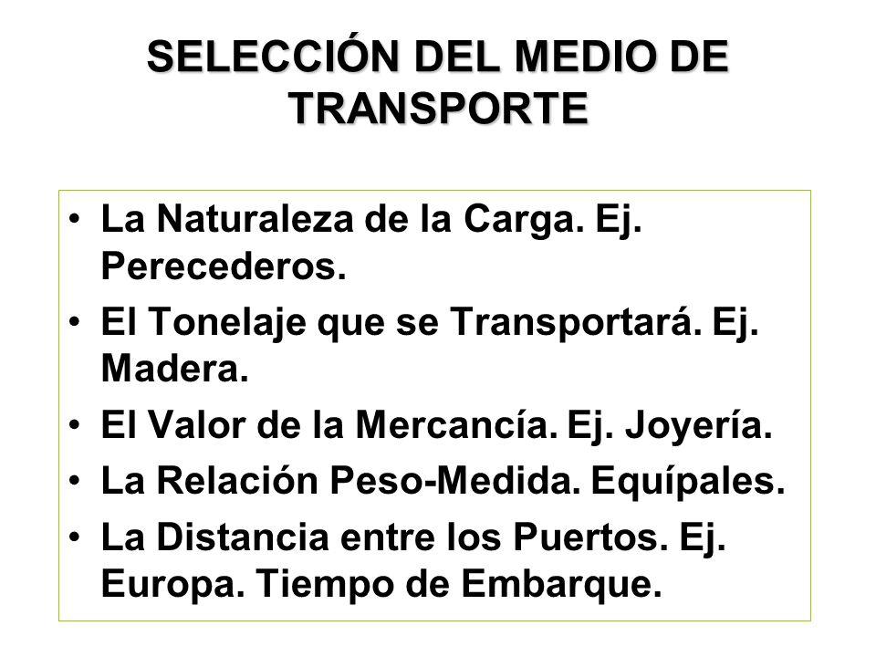SELECCIÓN DEL MEDIO DE TRANSPORTE