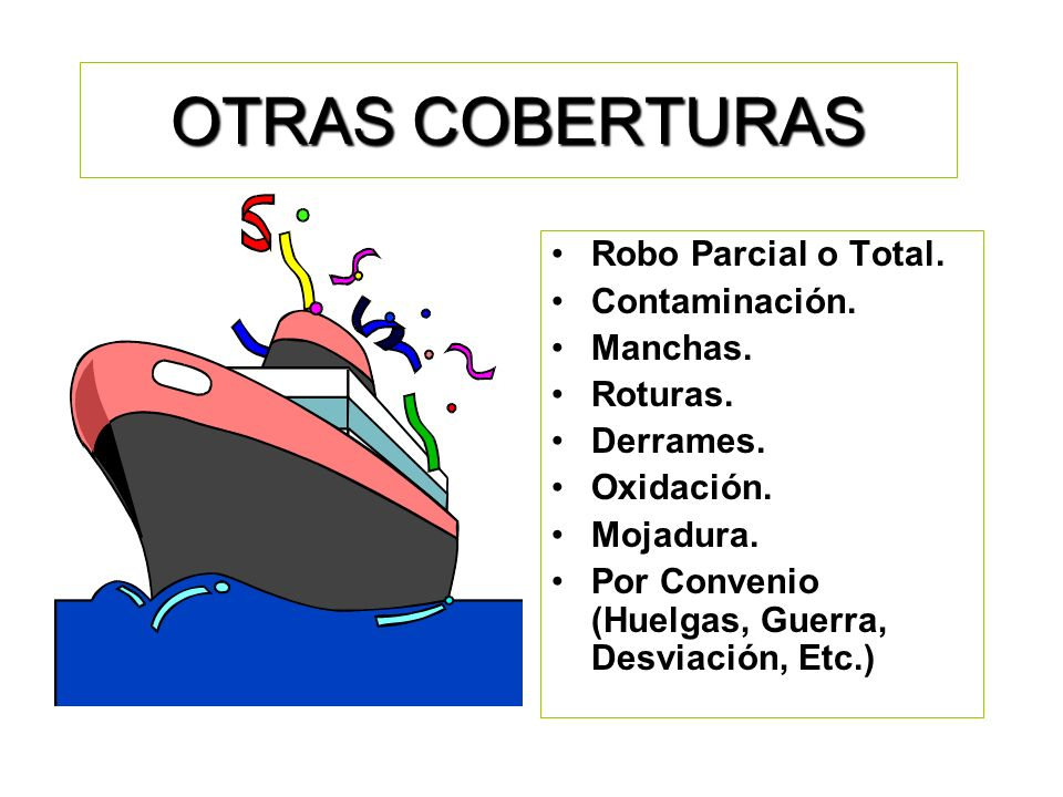 OTRAS COBERTURAS Robo Parcial o Total. Contaminación. Manchas.